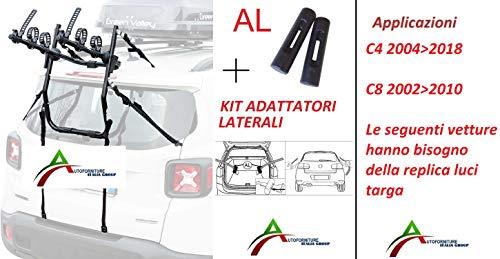 AUTOFORNITURE ITALIA Portabicicletas ensamblado y Listo para Usar (3 Bicicletas) para portón o Maletero Trasero con Kit adaptadores Laterales para Coche específico para C4 20042018 - C8 20022010