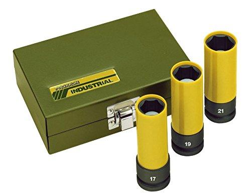 Proxxon Steckschlüsselsatz Impact, 3-teilig, stabile Steckschlüsselaufsätze zum Gebrauch mit Druckluftschraubern, maximales Drehmoment von 500 Nm, 1/2 Zoll Antrieb, mit Kunststoffhülle, Art.-Nr. 23938