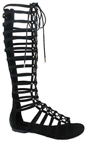 Shoe Dezigns Zeus 57 Womens Knee High Flat Caged Gladiator Sandals Black 8