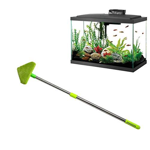 Balacoo Aquarium Reiniger - Dreieck Schwamm Reinigungsbürste tragbarer Schaber praktischer Schaber mit rutschfestem langem Griff Aquarium Reinigungsschwamm (80cm)