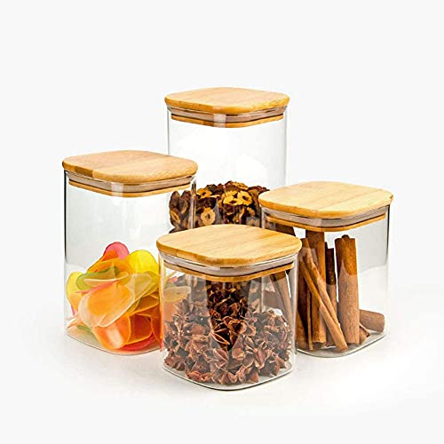 550ml Quadratische Vorratsgläser - 3er Stapelbare Vorratsdosen Set – Vorratsbehälter aus Borosilikatglas -Glasbehälter Gewürzgläser mit Bambusdeckel –Ideal für Spaghetti, Gewürze, Süßigkeiten