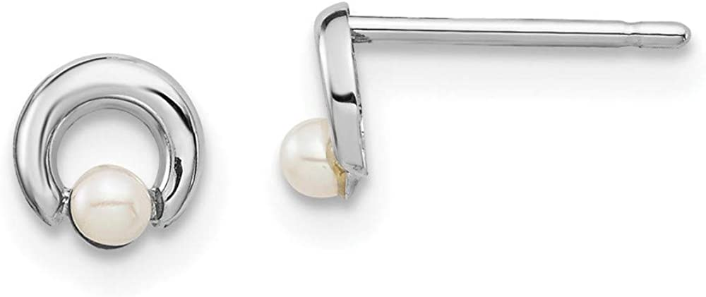 14k White Gold Button Freshwater Cultured Pearl Circle Post Stud Earrings Ball Fine Jewelry For Women Gifts For Her