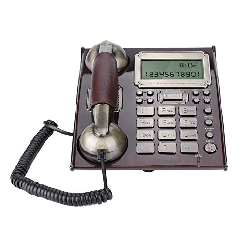 Richer-R Retro Telefon mit Wählscheibe, FSK/DTMF Vintage Schnurgebundenes Analog-Telefon,Multifunktion Home Telefon Retro-Tastentelefon mit Wecker Blitzschutzfunktion 2 Farben(Rot Pfirsichholz)