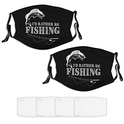 2 Piece Face Mask Set Plus 4 Replaceable Air Filters Bass Fishing Design Washable Reusable Adjustable Black Cloth Bandanas Scarf Neck Gaiters for Adults Men Women Kids