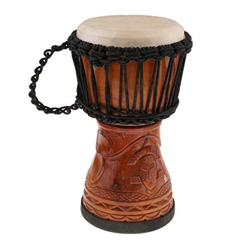 MROSW Duradera hecha a mano de madera djembe de 8 pulgadas para niños de la mano del bebé percusión juguetes musicales regalo de cumpleaños