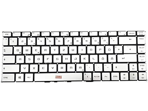 Tastiera tedesca (QWERTZ) – Argento – Tastiera con illuminazione, senza cornice per MSI P65 Creator 8RE-008, P65 Creator 8RE-207, P65 Creator 9SF-657