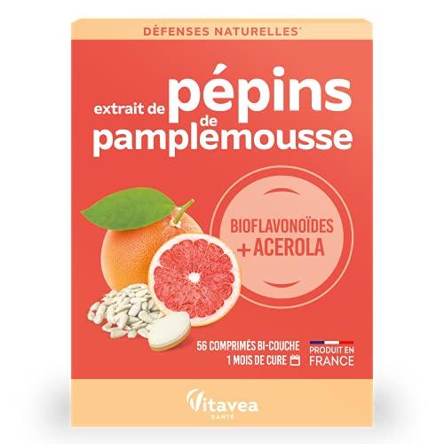 Vitavea - Extrait de Pépins de Pamplemousse Epp + Vitamine C : Défenses Naturelles * 56 Comprimés * Concentré en Bioflavonoïdes