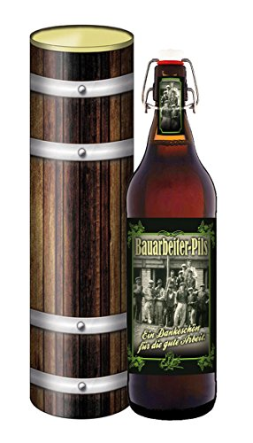 Bauarbeiter-Bier in der Geschenkdose im Holzdesign
