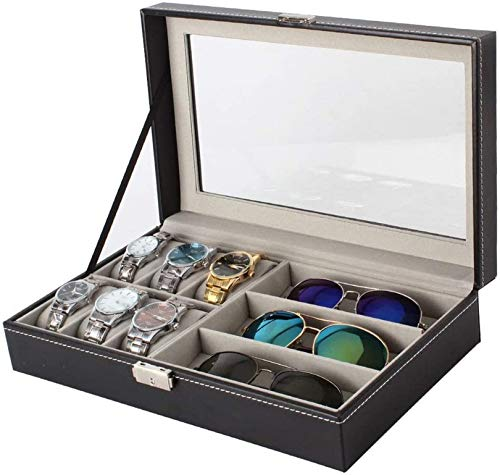 XLYYHZ Watch Box Wooden 6 Slots Sunglasses Watches Display Lockable Storage Box with Glass Lid Black Suit for Watches, Cuff Links and Other Stuff (Color : Black, Size : 33x20x8cm)