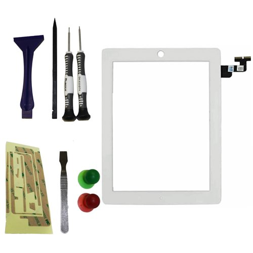 YAGadget White iPad 2 Digitizer Glass Touch Screen Replacement + 3M Adhesive + Metal Opening Tool + 6 Piece Complete iPad Tool Kit