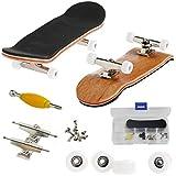 AumoToo Mini Diapasón, Patineta de Dedos Profesional Maple Wood DIY Assembly Skate Boarding Toy Juegos de Deportes Niños (Blanco)