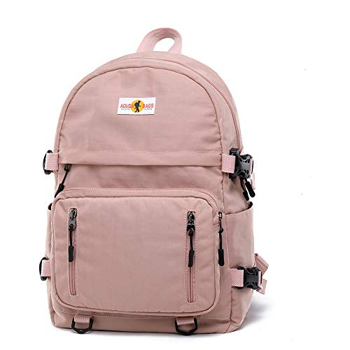 Marsoul Schulrucksack Mädchen und Männer Teenager, Canvas Rucksack Frauen Daypack Schulranzen Leichtgewicht Schultaschen Geeignet für Männer und Frauen (Rosa)