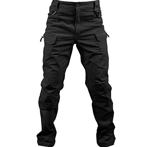 Loeay Pantalón de Carga Regular para Hombre Pantalón de Trabajo de Combate Militar Pantalones tácticos Militares Ocasionales Pantalones con múltiples Bolsillos para Caminar Negro XXXL
