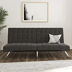 Modern look with squared tufted design and slanted chrome legs Multi functional piece: split back adjusts to suit your needs from sitting to lounging Pair with matching chair, chaise and ottomans for the full look Ships in one box and it is easy asse...