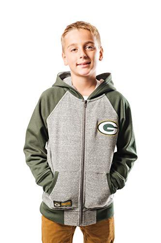 Ultra Game NFL Green Bay Packers Youth Full Zip Soft Fleece Raglan Hoodie, Team Color, Large
