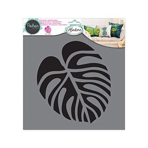 Aladine - Pochoir Textile Feuille Tropicale - Décoration sur Tissu - Pour Customiser Toiles, Tee-shirts, Tote Bags - Lavable - 28 x 28 cm - Grand Motif