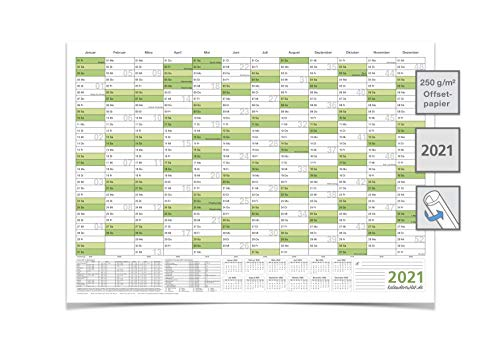 Großer Wandkalender/Jahresplaner 2021Format: DIN A1 84,0 x 59,4 cm, grün, Premium Qualität