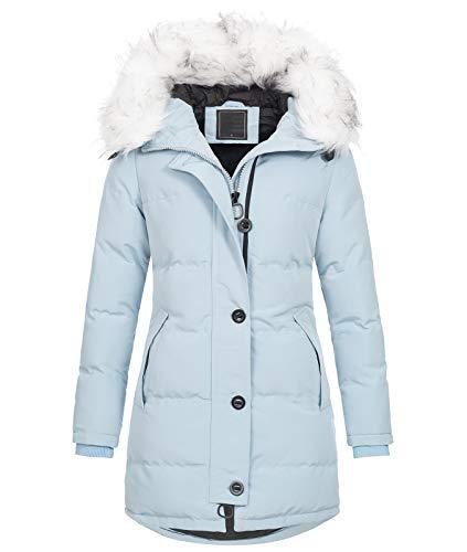 Rock Creek Damen Winter Jacke Mantel Kunstfellkragen Steppmantel Winterjacke Damenjacke Outdoorjacke Kapuze Fellkragen gesteppt D-429 Babyblau 2XL