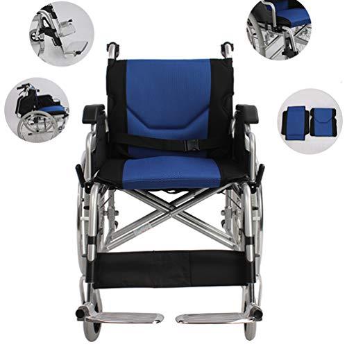 Xink-Wheelchairs Sedia a rotelle Leggera Pieghevole Transit Viaggio con i Freni Rimovibile Pieghevoli in Alluminio Pedane Auto Antiscivolo Molle dell'ammortizzatore può sopportare 100kg