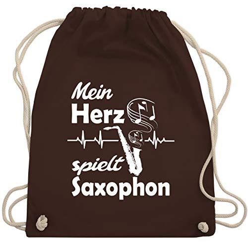 Shirtracer Instrumente - Mein Herz spielt Saxophon - Unisize - Braun - Geschenk - WM110 - Turnbeutel und Stoffbeutel aus Baumwolle