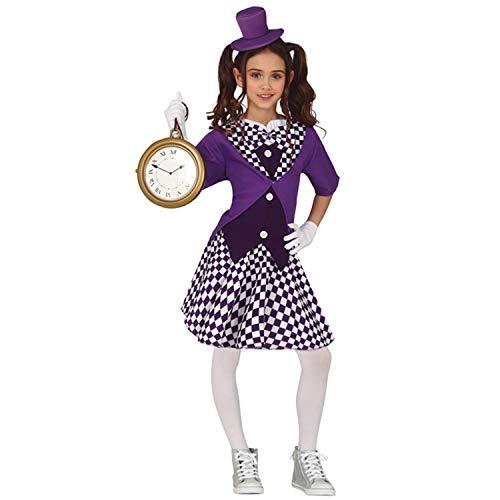 NET TOYS Moderno Disfraz para nia Alicia en el pas de Las Maravillas - Morado-Blanco 5 - 6 aos, 110 - 115 cm - Elegante Vestimenta Infantil Disfraz de Cuento de Hadas sombrerera