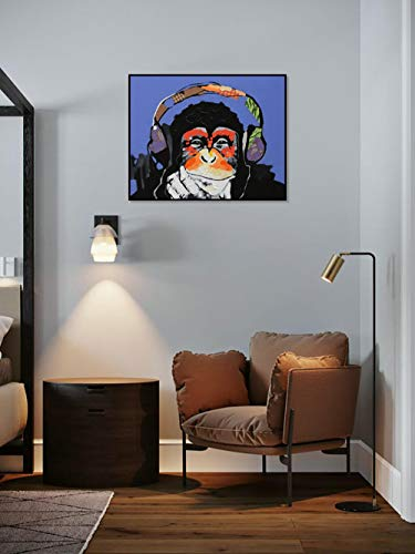 DIY Schilderen op nummerkinderen schilderen kitOrang-oetan, luisterend naar muziek, handgeschilderd frameloos schilderij 40x50cm