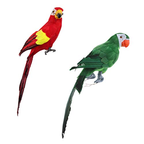 F Fityle 2pcs Realistische Papagei Zaunfigur Gartenfigur Dekoration für Garten Balkon Terrasse Wand Baum, ca. 45cm
