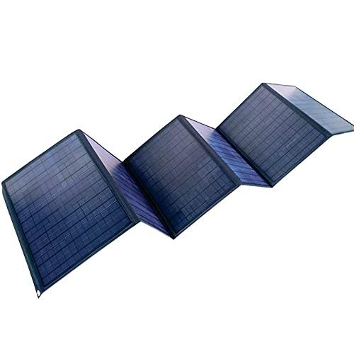 Panel solar de 60 W para exterior, plegable, portátil, doble USB, DC Sun Power Bank para sistema Off Grid PV en autocaravana, caravana, autocaravana, yate o barco, color negro