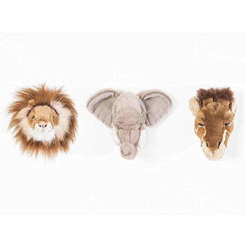 Wild & Soft Caja safari con 3 trofeos: jirafa, león, elefante. Animales de peluche hechos a mano para decoración de paredes para habitaciones infantiles. Aprox. 20x20cm