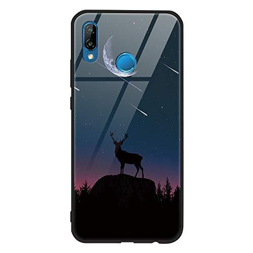 Yoedge Huawei P20 Lite Hülle, Stoßfest Hybrid Schutzhülle [TPU Silikon Bumper + Glas Rückseite] mit Muster Motiv Handyhülle Kratzfeste Hardcase Rückschale Cover für Huawei P20 Lite, Schaf