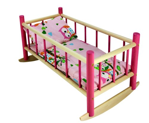 CuddlyZOO NEW LARGE WOODEN PINK ROCKING BED COT Fits Up to 50cm 19' Doll (pink owl T2)