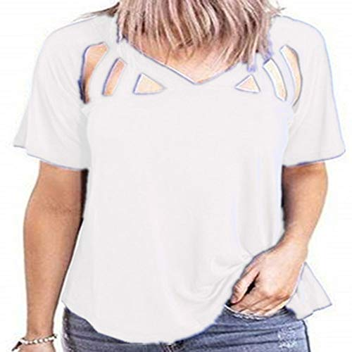 T-Shirt Frühling und Sommer V-Ausschnitt Kurzarm New Women's Loose Cut-Out Top Frauen
