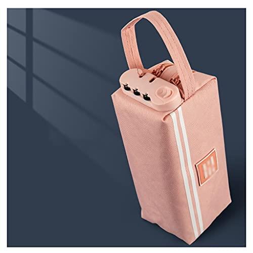 swq Caja de lápices de Lona, Multifuncional con contraseña Lavable Multi-Capa Gris de Gran Capacidad, Escuela estudiantil para niña (Color : Pink, tamaño : 3 Packs)
