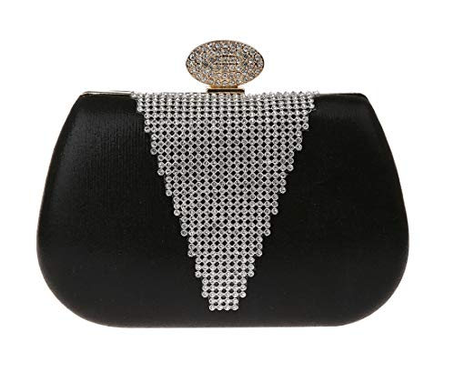 KELUOSI Luxus Damentasche Clutches Handtasche Abendtasche Satin Brauttasche mit Strass Schwarz