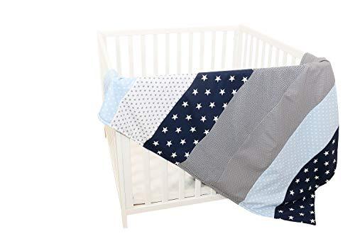 Colcha para bebé de ULLENBOOM ® con azul claro azul gris (manta de arrullo para bebé de 100 x 140 cm, ideal colcha para el cochecito; apta alfombra de juegos)