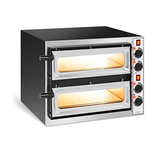 Royal Catering Forno Elettrico Professionale per Pizza Forno per Pizzeria RC-POB240GL (2 camere, 2 x Ø 32 cm, Porta in Vetro)