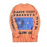 NAGRI Kanye Presents Long Sleeve T-Shirt Hip Hop Letter Printing Sweatshirt Graphic Rap Music Crew Neck Tee Orange
