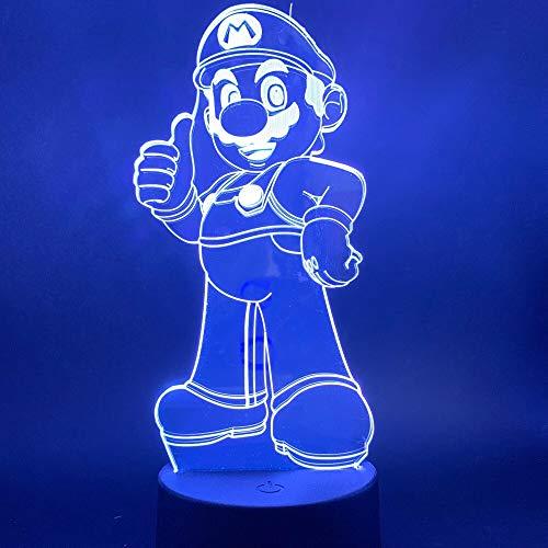 Lámpara 3D, luz de dibujos animados para niños, lámpara de noche para dormir, luz nocturna que cambia de color, sensor táctil, encantadora luz de noche LED