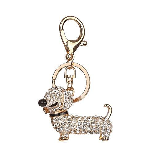 Ruikey Keyring Simple Round Pendant Wolf Pattern Keychain Handbag Ornament Key Chain Decor Gift