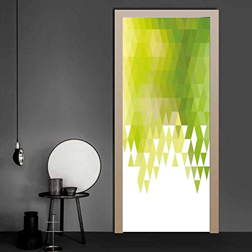 Wall Decal Triangular Abstract Pattern Design Geometrical Mosaic Poly Effect Waterproof Removable 3D Door Art Stickers Easy to Use, Not Too Thin Yellow Green Lime Green White 17.1 x 78.7 Inch