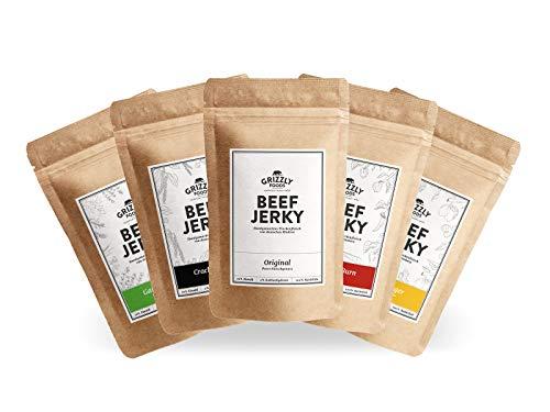 Beef Jerky • Aus Deutschland • Alle 5 Sorten • >70% Eiweiß • Rinder-Trockenfleisch im Set • 5er-Pack • (5 x 50g = 250g)