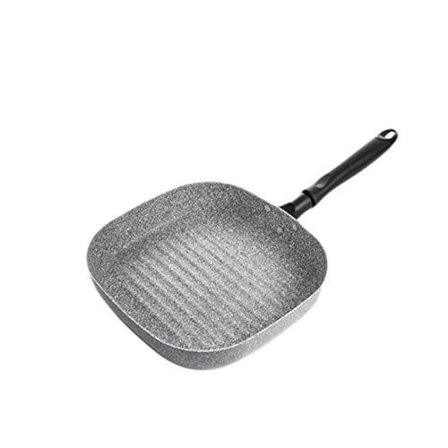 22 * 24cm Sartén freír con la manija antiadherente panqueque Parrilla cuadrada Pan horneado Pan para hornear Sart Sart Sart Pan Tool de cocina (Color : Gray)