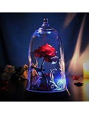 ガラスの中の魔法の光る バラ 美女と野獣 プロポーズ 誕生日 結婚祝い 記念日 バレンタイン ホワイトデー 女性 プレゼント プリザーブドフラワー