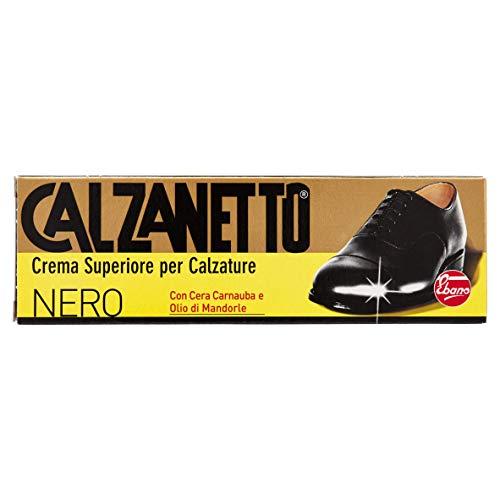 Calzanetto–Creme oben für Schuhe mit Carnauba Wachs und Öl von Mandeln, 50ml, Farbe Schwarz
