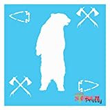 Tribal Decor Stencil - Native American Indian Grizzly Bear Arrowhead-XS (8' x 8')| Brilliant Blue Color Material