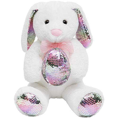 HollyHOME Sequins Bunny Easter Stuffed Animal Long Eard Plush Rabbit Holding Reversible Sequins Egg Pillow 19 Inches White
