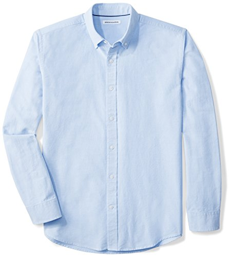 Amazon Essentials Men's Regular-Fit Long-Sleeve Solid Oxford Shirt, Blue, Large