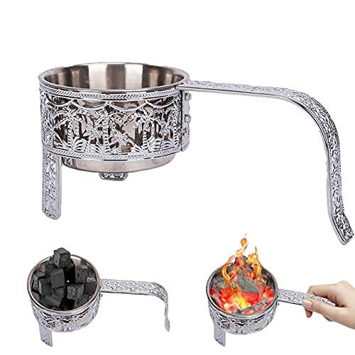 RMAN® Shisha Kohlekorb Edelstahl Kohlebehälter für Shisha & Grill Kohle Char-Basket Holzkohlekörbe mit Sicherheitsgriff Shisha Zubehör Silber