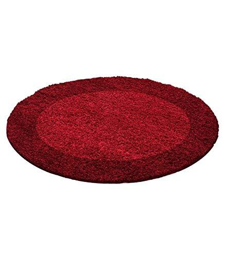 Hochflor Langflor Wohnzimmer Shaggy RUNDER Teppich Rund 2 Farbig Florhöhe 3cm - Rot-Bordeaux, 120x120 cm Rund