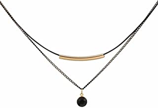 Fashion Black Choker Necklace,2-Layers Black Chain Necklace for Women Girls